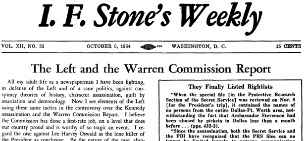 11 i.f. stone weekly on jfk assassination cropped