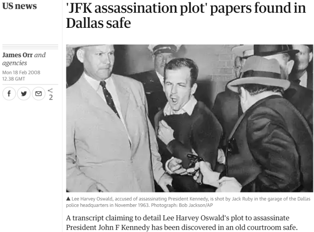12 2018-06-25 12_30_40-'JFK assassination plot' papers found in Dallas safe _ US news _ The Guardian
